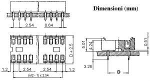 Zoccolo 22 Pin per C.I. p 2,54 mm doppia lamella
