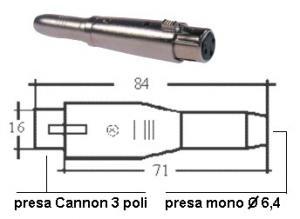 Adattatore Presa  XLR/Presa Jack mono 6.4 mm NTA-110