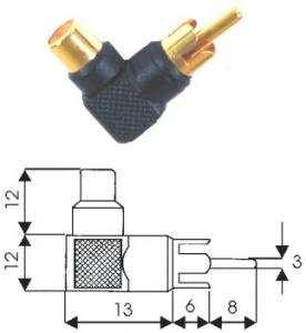 Adattatore RCA 90°  M/F