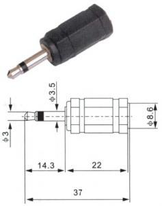 Adattatore spina 3.5 mono/presa 3.6 stereo