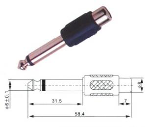Adattatore spina mono 6.3 mm/presa RCA