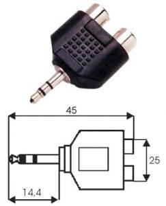 Adattatore spina stereo 3.5 mm/2 prese RCA