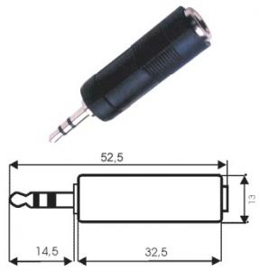 Adattatore spina stereo 3.5 mm/presa stereo 6.5 mm