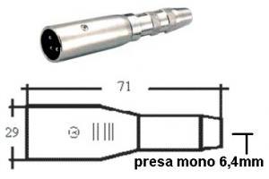 Adattatore Spina XLR/Presa Jack mono 6.4 mm