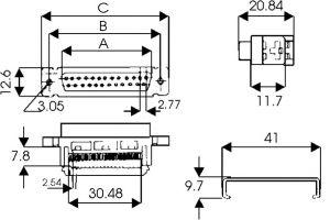 Connettore serie D 25 poli  Femmina a   perforazione di isolante