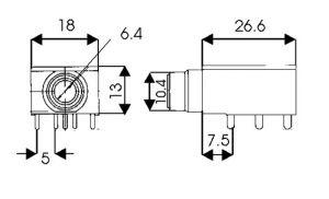 Presa Jack pannello stereo 6,4mm con interr. C.S.