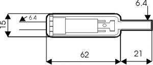 Presa Jack volante stereo 6,4 mm plastica c/guidacavo