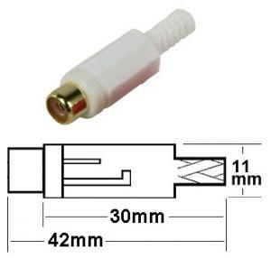 Presa RCA volante bianca plastica c/guidacavo