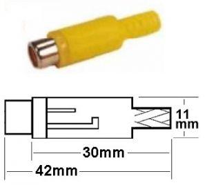 Presa RCA volante gialla plastica c/guidacavo
