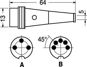 Spina DIN 3 poli volante con ghiera filetto int.