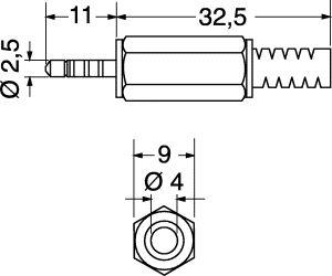 Spina Jack volante 4 contatti 2,5 mm plastica