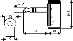 Spina Jack volante stereo 3,5 mm plastica 90°