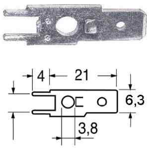 Terminale faston maschio  6,3 mm C.S.