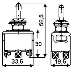 Deviatore bipolare a leva   On-Off-On  10A - 255 Vac