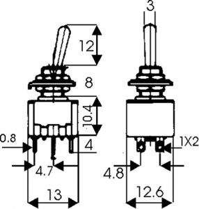 Deviatore Bipolare a leva   (On)-Off-(On)    6A 125 Vac Myama
