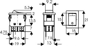 Interruttore Bipolare bilancere ON-OFF 5 A-125 Vca nero