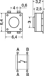 Pulsante Miniatura  SMD 6,4 mm