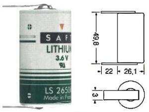 Batteria Litio SAFT LS26500 3.6 Volt serie C con terminali 1/2 Torcia 7.7A