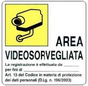 Segnaletica 956/A Area videosorvegliata 16x16