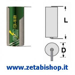 Accumulatore NI-MH 1.2volt 1000 mah con  T  1/2A C.S.