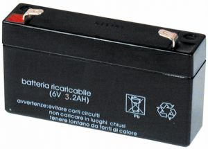 Accumulatore Piombo 6 Volt 3.2 A MKC orrizontale