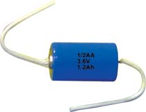 Batteria Litio ER 14250 3.6 Volt serie 1/2  AA con terminali