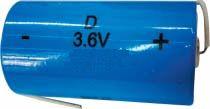 Batteria Litio ER34615 3.6 Volt serie D con terminali Torcia 17 A