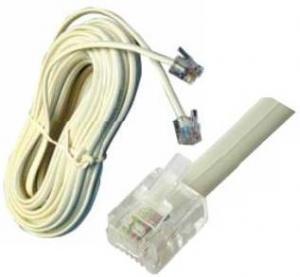 Cavetto Telefonico  RJ14 bianco 6P4C  Mt 10
