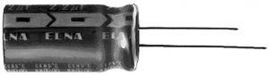Condensatore Elettrolitico 85°  20 %   0,22 uF    100 Volt  Verticale