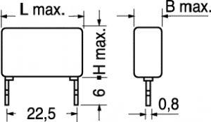 Condensatore Poliestere MKT  P22,5  820.000  PF  250  Volt  10%