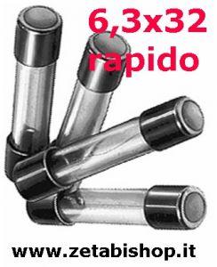 Fusibile rapido 6,3x32 250 Volt  6,3   A   serie  CF(10pz)