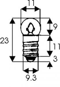 Lampadine Miniatura Sferiche E-10  4,8 V. 300 mA/A