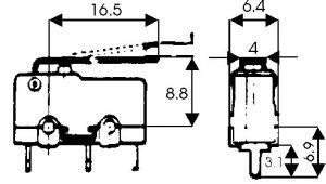 Microswitch a leva   125/250 Vca  5 A  10x20