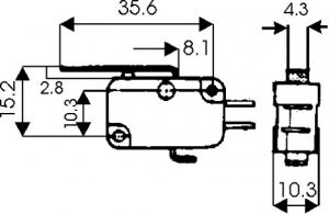 Microswitch a leva  125/250 Vca  5 A  16x27