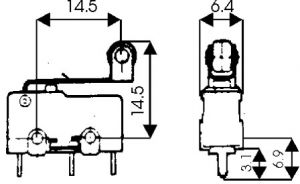 Microswitch a leva con rotella 125/250 Vca  5 A  10x20