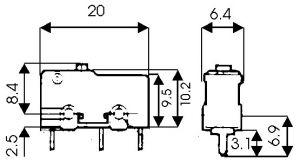 Microswitch senza leva  125/250 Vca  5 A  10x20