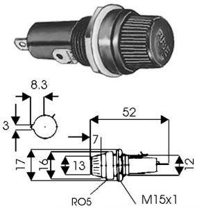 Portafusibile  Pannello 6x30 ad avvitamento  10 A 250 Volt