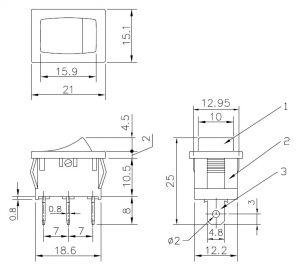 Deviatore Unipolare  a bilancere 6 A 125 Vca nero