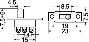 Deviatore Unipolare a slitta da pannello 0,5 A 125 Vca