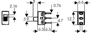 Deviatore Unipolare a slitta da pannello 6 A 125 Vca
