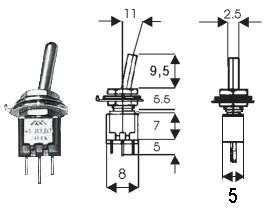 Deviatore Unipolare in Miniatura a leva   On-On   3A 125 Vac  Miyama