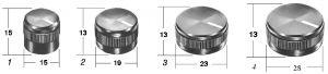 Manopola con capsula nera opaca  perno  6 mm  D 23 a vite