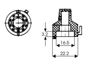 Manopola contagiri in alluminio 15 giri  D23   VISHAY