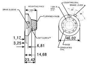 Manopola contagiri in alluminio 15 giri D46 RB