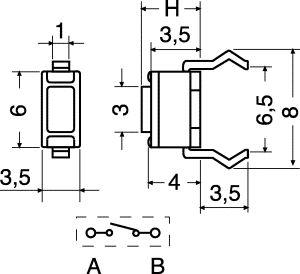 Pulsante Miniatura C.S. 50 mA 12 Vdc  6x3,5x4,3H