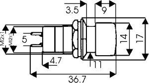 Pulsante Unipolare con autoritorno 3A 250 Vca  Rosso