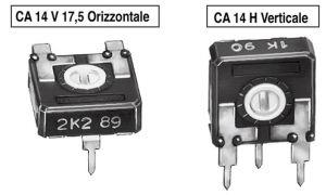 Trimmer a strato carbone CA14V Orizzontale  1 Mohm  P 10 mm