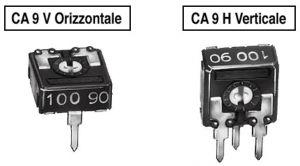 Trimmer a strato carbone CA9V orizzontale  100 ohm  P 5 mm
