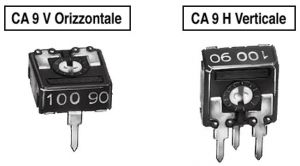 Trimmer a strato carbone CA9V orizzontale  2,2 Kohm  P 5 mm