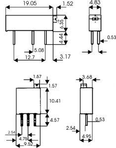 Trimmer Cermet Multigiri serie 43 P  Orizzontale  100  Kohm